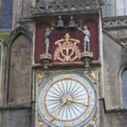 Wells Cathedral Outside Clock Poster