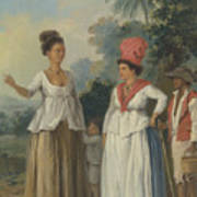 West Indian Women Of Color, With A Child And Black Servant Poster