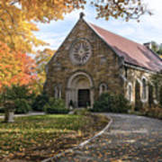 West Parish Chapel In Fall, Andover, Ma Poster