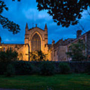 West Side Of Hexham Abbey At Night Poster