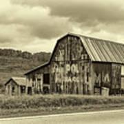 West Virginia Barn Sepia Poster