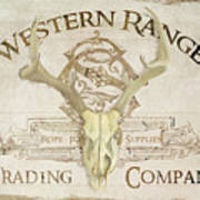 Western Range 3 Old West Deer Skull Wooden Sign Trading Company Poster