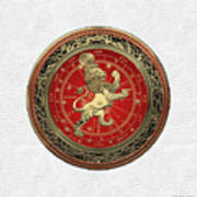 Western Zodiac - Golden Leo - The Lion On White Leather Poster
