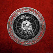Western Zodiac - Silver Taurus - The Bull On Red Velvet Poster