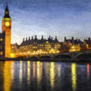 Westminster Bridge And Big Ben Art Poster