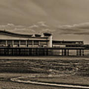 Weston  Super Mare   Outflow  Pier  Black  White Poster