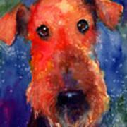 Whimsical Airedale Dog Painting Poster by Svetlana Novikova