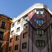 Whimsical Madrid - A Building Draped In Traditional Spanish Mantilla Poster