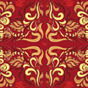 Whimsical Organic Pattern In Yellow And Red I Poster