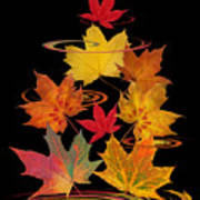 Whirling Autumn Leaves Poster