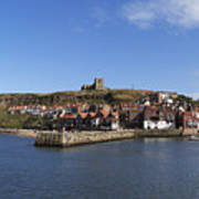 Whitby Harbour With Abbey Ruins Poster