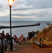 Whitby Steps Blue Hour Poster