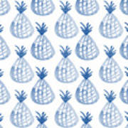 White And Blue Pineapple Party Poster