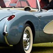 White And Light Blue Corvette Poster