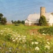White Barn In Michigan Poster