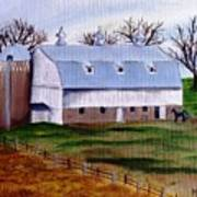 White Barn On A Cloudy Day Poster