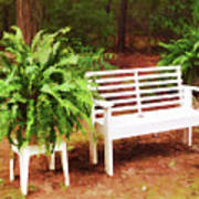 White Bench Sitting In A Beautiful Garden 2 Poster