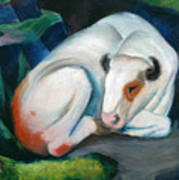 White Bull Resting In The Woods By Franz Marc Poster