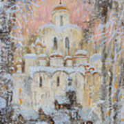 White Cathedral Under Snow Poster