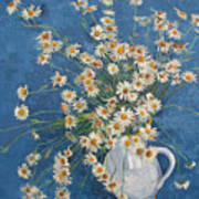 White Chamomile Flowers With Blue Background Poster
