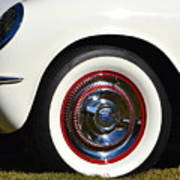 White Corvette Front Fender Poster