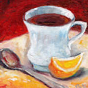 White Cup With Lemon Wedge And Spoon Grace Venditti Montreal Art Poster