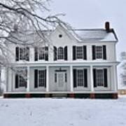 White Farm House During Winter Poster