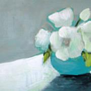 White Flowers In Blue Vase Poster