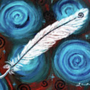 White Hawk Feather Poster