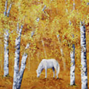White Horse In Golden Woods Poster