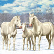 White Horses In Winter Pasture Poster by Crista Forest