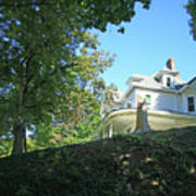 White House With Hillside Shade Poster