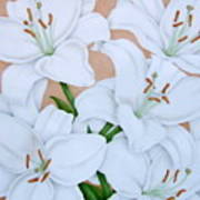 White Lilies Poster