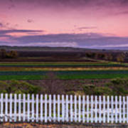 White Picket Fence Looking Over Farmland  Poster