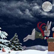 White Rabbit Christmas Poster