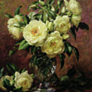 White Roses - A Gift From The Heart Poster by Albert Williams