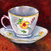 White Tea Cup With Yellow Flowers Grace Venditti Montreal Art Poster