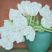 White Tulilps In Blue Vase Poster