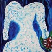White Wedding Dress On Blue Poster