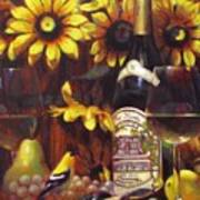 White Wine And Gold Finch With Sun Flower Poster