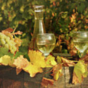 White Wine And Grape In Vineyard Poster