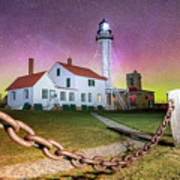 Whitefish Point Lighthouse   Northern Lights -0524 Poster