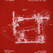 Whitehill Sewing Machine Patent 1885 Red Poster