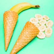 Whole Bannana And Slices Placed In Ice Cream Cone Poster