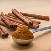 Whole Cinnamon Sticks With A Heaping Teaspoon Of Powder Poster