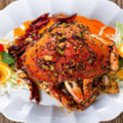 Whole Cooked Dungeness Crab With Peanut Sauce And Spices On Whit Poster