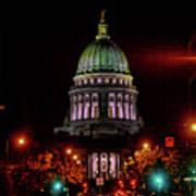 Wi State Capitol From West Washington Ave Poster
