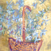 Wicker Basket Of Garden Flowers Poster
