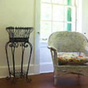 Wicker Chair And Planter Poster