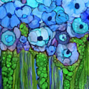 Wild Blue Poppies Poster